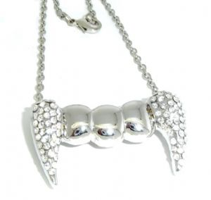 Vampire Crystal Tooth Pendant Necklace Halloween, Gothic
